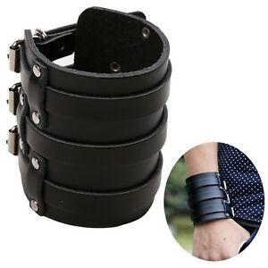 MSemis-Mens-PU-Leather-Arm-Warmers-Wide-Bangle-Cuff-Wristband-Bracelet-Belt
