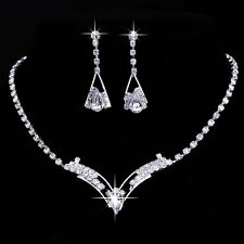 Bridal V Shape Crystal Necklace and Earring Set  ~UK SELLER~