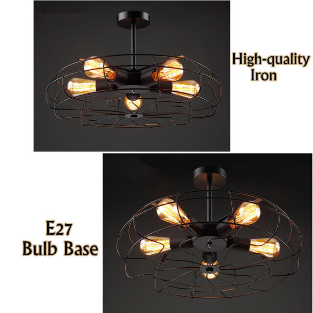 E27 Retro Industrial Pendant Wrought Iron Light Bar Coffee Shop Chandelier Indoor Hanging Lamp Highly Polished Lights & Lighting