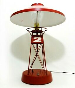 Rare Mid 20th C Vint Nautical Buoy Metal Table Lamp W Red Enamel Paint Amp Decals Ebay