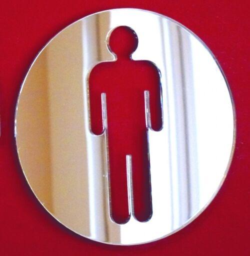 Round Toilet Door Sign Mirrors (Acrylic Mirror, Male   Mens WC Restroom)