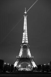 Eiffel-Tower-Paris-France-Night-Light-Beams-BW-Matte-12-034-x-18-034-Print