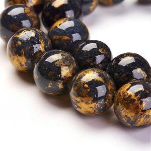 Edelstein-Perlen-6mm-Schwarz-Goldfluss-Quarz-Natur-Schmuckstein-A-Grade-G19