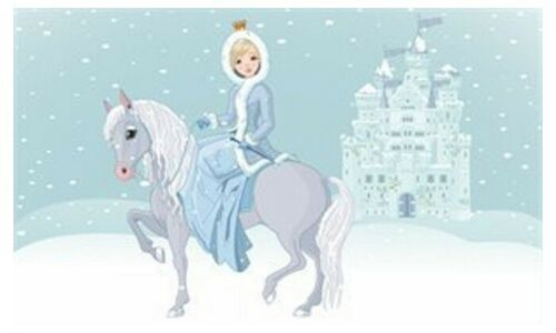 Fahne Flaggen Eiskönigin mit Pferd Eisprinzessin blau Geburtstagsdeko wetterfest