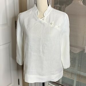 Willow-Womens-White-Linen-Tunic-Top-Blouse-Lagenlook-3-4-Sleeve-Frog-Closure-S