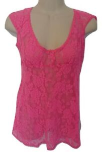 Victoria-s-Secret-Hot-Pink-Lace-Mesh-Slip-Gown-Chemise-Babydoll-Floral-Medium