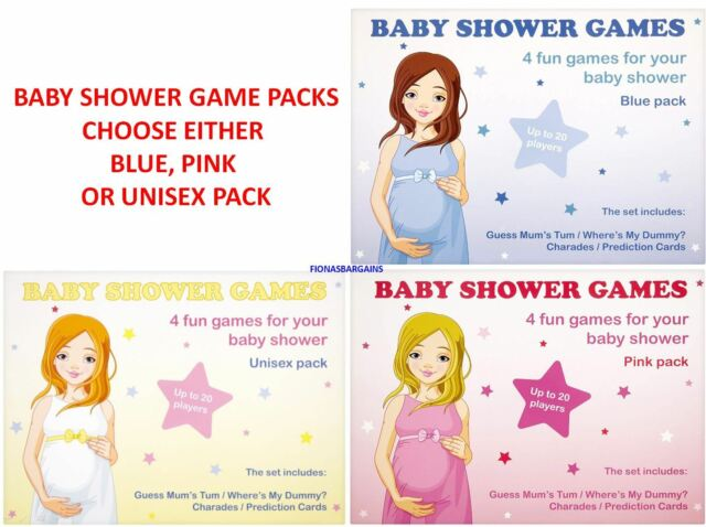 4  fun games BABY SHOWER GAMES up to  20 Players Unisex Pack
