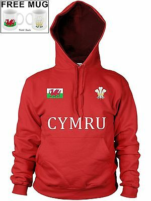 2019 Neuestes Design Wales Cymru Welsh Feathers Badge Hoody Dragon Rugby Hoodie Football *free Mug*