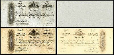 2 REPUBLIC OF POYAIS ONE DOLLAR 1821 BANKNOTES !NOT REAL! !COPY