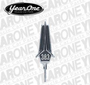 "1967 Belvedere black /""383/"" hood emblem BM202B"