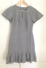 Banana Republic Women Dress 2P Petite Heather Gray Texture Sheath Ruffle Hem New
