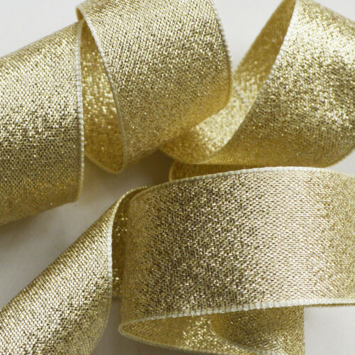 Berisfords Sparkly Lame Ribbon Rose Gold Silver Glitter Christmas ALL WIDTHS