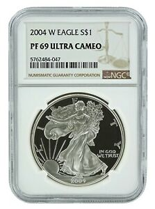 2004-W-1oz-Silver-Eagle-Proof-NGC-PF69-Ultra-Cameo-Brown-Label