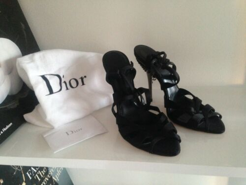 Christian Silk Size High Uk Dior Heels Crystal Sandals Authentic Eur Black 37 4 CpUxqdwxB