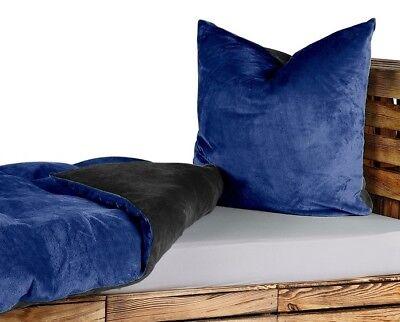 uni wende bettw sche 155x220 teddy pl sch cashmere touch blau schwarz neu ebay