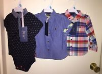 Baker By Ted Baker Boys 3pc Short-sleeve, Long-sleeve Shirts,& 1-piece 3-6m