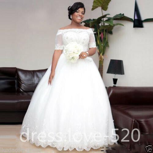 Plus Size Half Sleeve White//Ivory Beaded Wedding Dress Bridal Gown Custom size