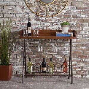 Idris Mid Century Dark Oak Acacia Wood Bar Tray