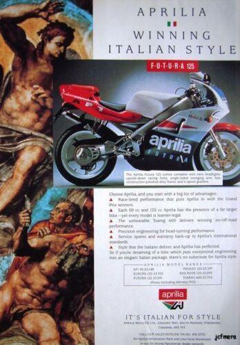 APRILIA F.U.T.U.R.A 125 ADVERT 1991//2 Motor Cycle Ad