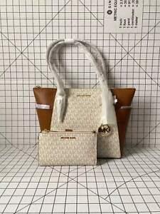 Michael Kors Charlotte Top Zip Tote Vanilla Signature MK Shoulder Bag& Wristlet
