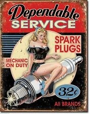 Dependable Service Spark Plugs Vintage Weathered Garage Metal Tin Sign Bar Pinup