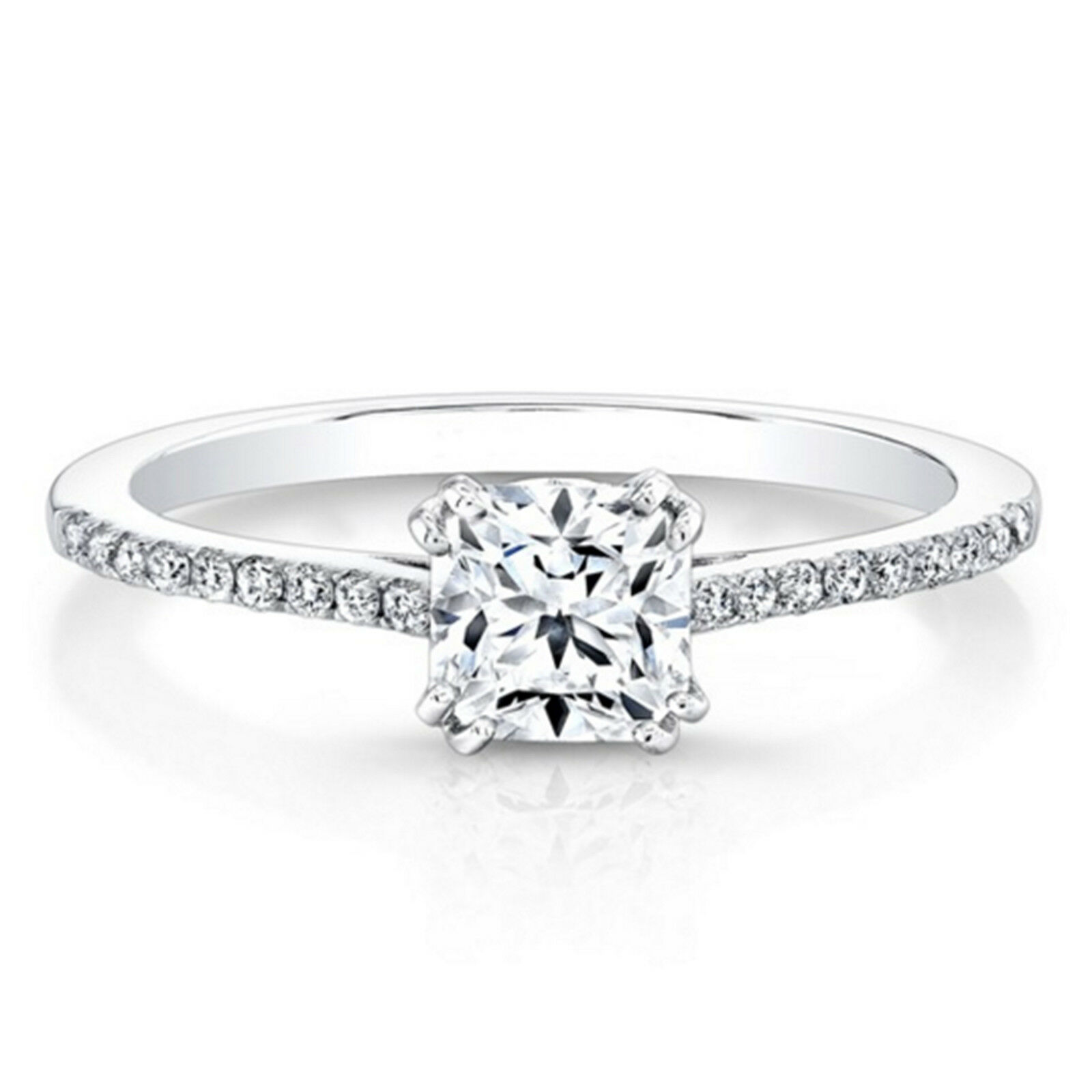 0.59 Ct Real Diamond Wedding Engagement Rings 14K Solid White gold Women's Rings
