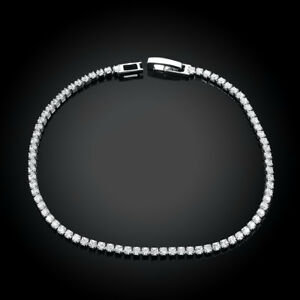 18K-White-Gold-Plated-Tennis-Bracelet-AAA-Round-Brilliant-3mm-7-8-034-ITALY