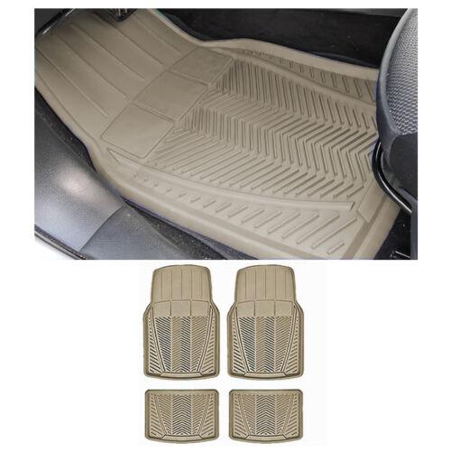 Sedan Beige Tan Front w// Rear Utility Heavy Duty Rubber Floor Mats Set 4 pc XLG