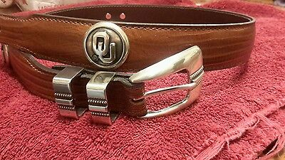 Men/'s Brown Leather Belt with University of Oklahoma OU Conchos Size 34 NL