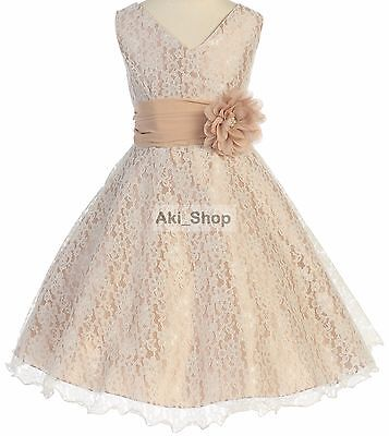 Special Occasion Flower Girl Dress Graduation Easter Wedding Bridesmaid AK08-Iv