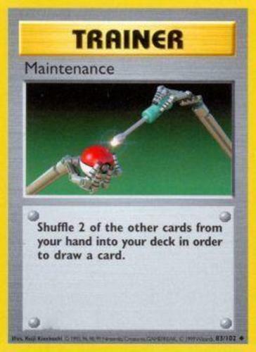 Shadowless Edition Maintenance Uncommon 83//102 Base Set Moderately Playe