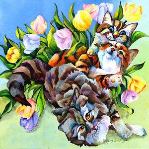 GARDEN-PARTY-Cats-amp-Tulips-12x12-Original-Framed-Art-on-canvas-Sherry-Shipley