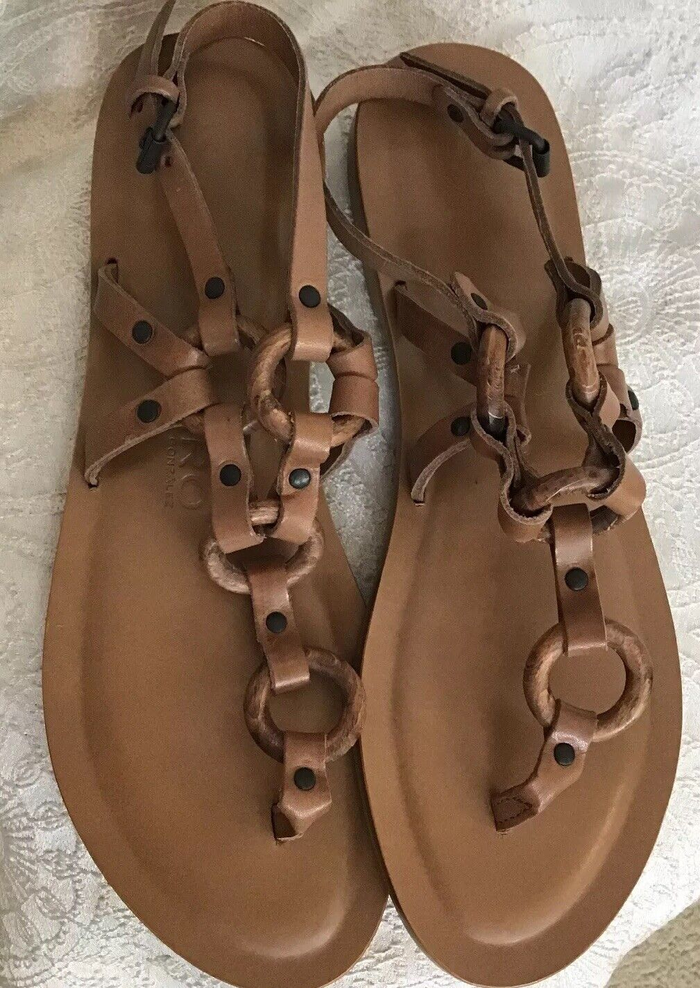 Alvaro Gonzalez Ando Sandal Brown Leather Circle The Rapped  Leather Size 40 New