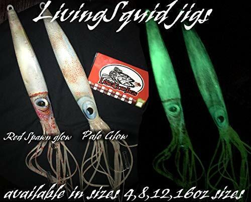 2 Lingcod jigs LivingSquid lure glow jigging slow pitch fall flat shipping Qty