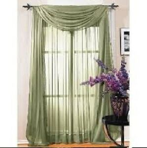 Sheer Scarf Window Treatments Curtains Drape Valances 63 84 95 Sage Green