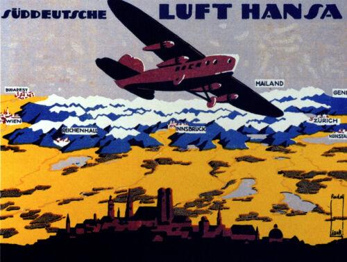 Decor Travel Poster.Fine Graphic Art Design.LUFT HANSA.Aviation Wall Art.636
