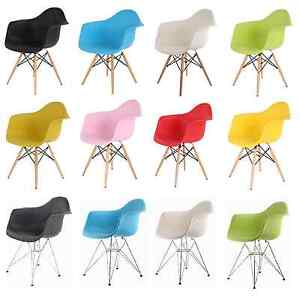 New-Retro-Wooden-Metal-Plastic-Dining-Office-Lounge-Chair-Armchair