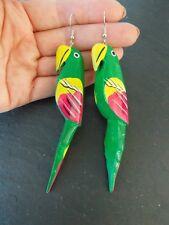Green Handpainted Wooden Parrot Earrings -UK SELLER