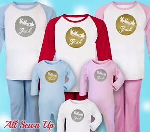 Personalised Christmas Pyjamas - 100% cotton xmas gift. Christmas eve - Sleigh
