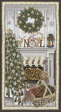 "Cream White Christmas Panel With Metallic Highlights-23"" x 43""-Wreath-Tree"