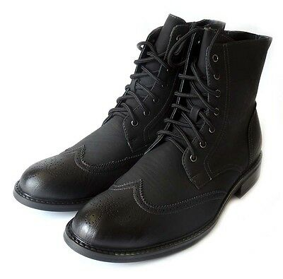 NEW FASHION MENS HIGH ANKLE BOOTS LACEUP OXFORDS WING TIP DRESS SHOES / BLACK162