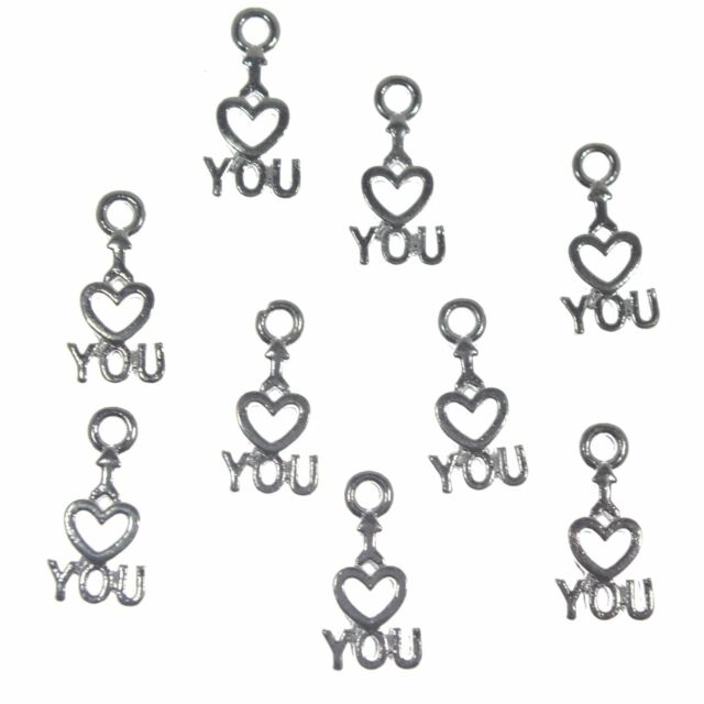 30 Silver Plated Metal Heart I Love You Charms 12mm Jewellery Making Findings