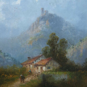 Thomas-Louis-Francois-Schule-von-Barbizon-Impressionism-Romantik-Burg-France-Wo