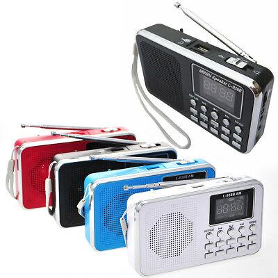 FM AM Mini Radio Digital LCD Speaker MP3 Music Player AUX USB TF with LED Light