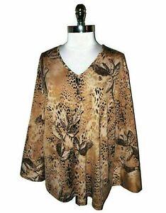 NEW-MAGGIE-BARNES-Plus-Size-2X-22-24-Shirt-Top-Brown-Black-Animal-Print-Stretch