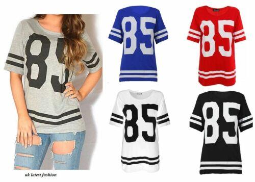 Womens 85 Print Varsity T Shirt Oversize American Baseball Baggy Jersey Top