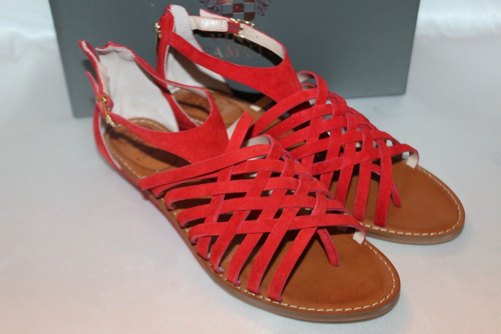 NEW  NIB  VINCE CAMUTO Juicy Red Suede Leather SYNDIA Wedge Sandals Sz 10  100