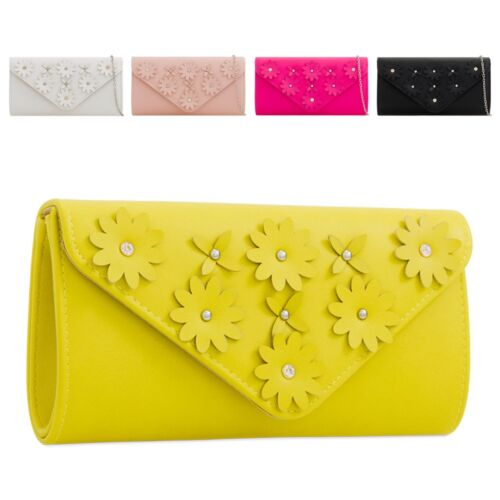 Ladies Fx Leather Diamante Flower Envelope Clutch Bag Floral Handbag KZ2282