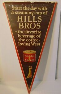 Large-30-034-Antique-Old-Vintage-1930s-Hill-Bros-Coffee-Graphic-Advertising-Sign