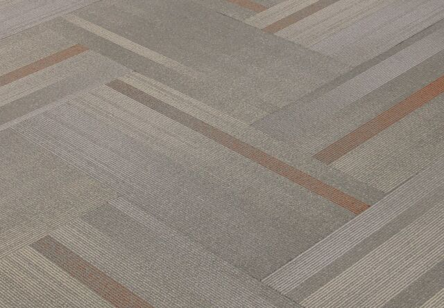 "SHAW Chevron Overlay Paprika Carpet Tiles 18"" x 36"""